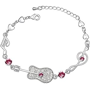 Pink Clear Crystal Guitar Music Note Treble Clef Heart Bracelet Made With Swarovski Elements