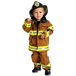 Jr. Fire Fighter Suit with helmet, size 8/10 (tan)