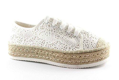 DIVINE FOLLIE 15667 bianco scarpe donna lacci platform pizzo corda 39