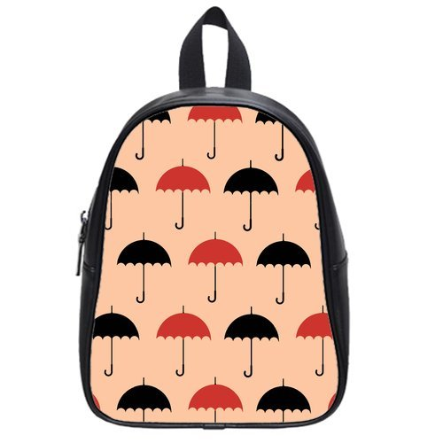 Anhome Cartoon Little Red And Black Umbrella Pink Background Custom School Bag/Backpack front-1043572