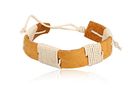 Fashion Weave Light Brown Leather Wrap Cuff Bracelet Bangle Men's Jewelry