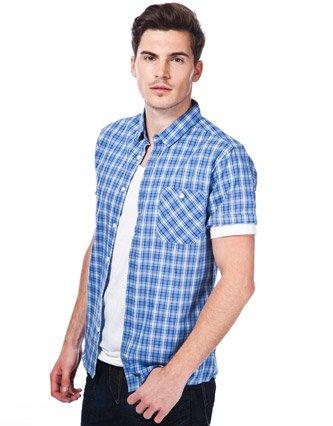 White Label Checked Shirt & T-shirt Set - Blue - Mens