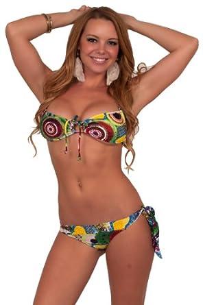 Two Piece String Balconette Bathing Suit Low Rise Swimwear Bikini Swimsuit S M L
