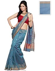 Utsav Fashion Light Blue Shot Tone Pure Chanderi Silk Handloom Saree with Blouse