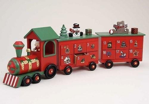 adventskalender weihnachtszug aus holz mit 24 schubladen. Black Bedroom Furniture Sets. Home Design Ideas