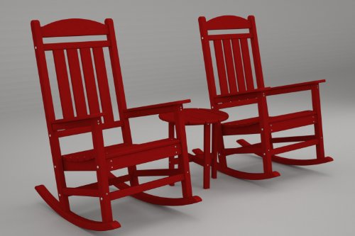 Polywood Pws109-1-Sr Presidential 3-Pc. Rocker Set, Sunset Red