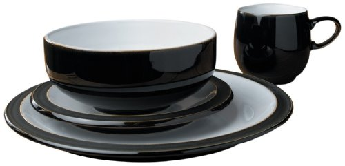 Denby Jet Black 16 Piece Boxed Tableware Set