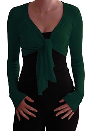 EyeCatch - Genevieve Long Sleeve Cardi Shrug Wrap Tie Front Bolero Bottle Green S/M