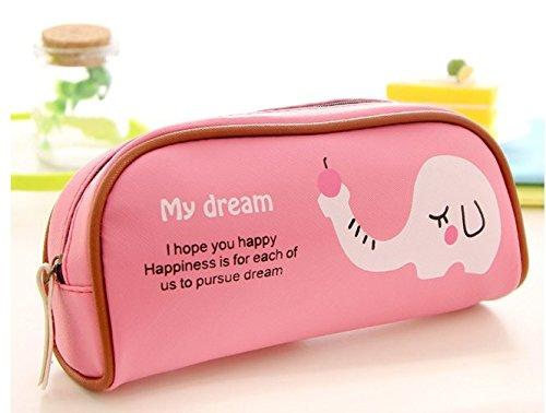 kavivi grande capacità penna borsa Cute Zebra Elefante Paradiso Astuccio 20*16 Elephant-Rose red