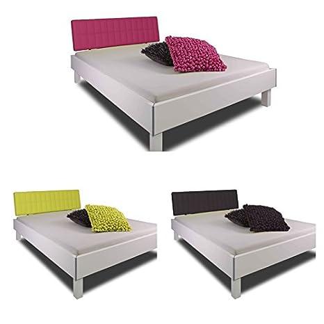 """'Cama """"London Green en color blanco con verde acolchado Cabecero de piel sintética, 140x 200cm, estructura de cama, marco cama, cama doble, cama de matrimonio, madera maciza/mdf, fabricado en Alemania, adormio"""
