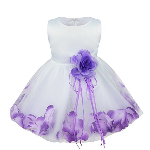 TIAOBU Baby Girls Flower Petals Tulle Formal Bridesmaid Wedding Party Dress Purple 18-24 Months