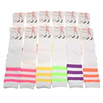 Angelina 12-Pair NEON Referee Knee High Socks #2539WN_9-11
