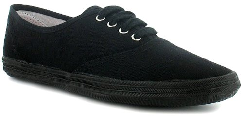 Womens/Ladies Black Canvas Pumps With Rubber