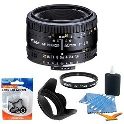 Nikon 50mm f/1.8D AF Nikkor Lens for Nikon Digital SLR Cameras (2137) with 52mm Multicoated UV Protective Filter--offers lens protection & clearer pictures, 52mm Hard Lens Hood, Lens Cap Keeper, and 5 pc. Lens Cleaning Kit