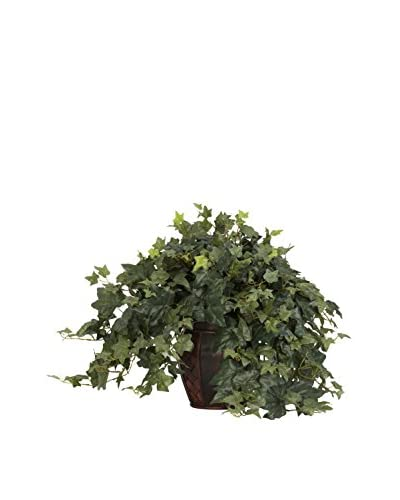 Nearly Natural Puff Ivy With Decorative Vase Silk Plant, Green