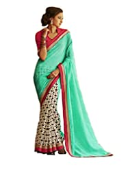 Status Rama & Off White Color Printed Saree On Bhagalpuri Silk Fabric.