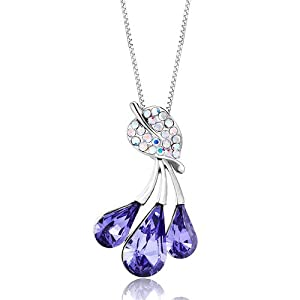 Pugster Leaf Crystal Aurore Boreale Dangle Tanzanite Swarovski Crystal Drop Pendant Necklace
