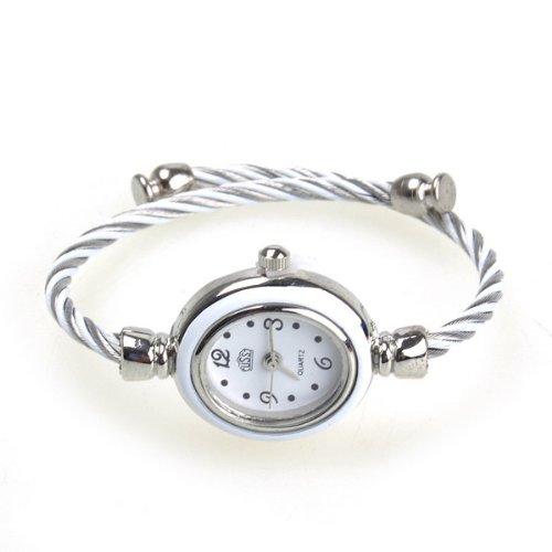 Bestdealusa Fashion Girls Ladies Rope Charming Bracelet Wrist Watch Grey And White
