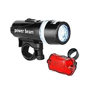 SODIAL- Waterproof 5 LED Bike Bicycle Head + Rear Light 6 Modes for Night Safety