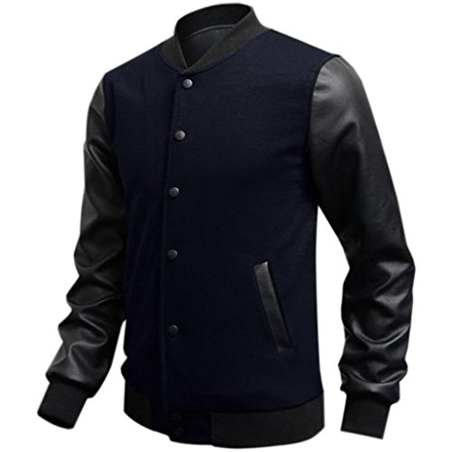 Minetom Uomo Moda College Baseball Jacket Giubbotto Felpa - PU Cuciture in Pelle ( Blu scuro IT 40 )