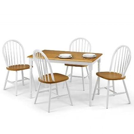 Julian Bowen Oslo White/Oak Finish Dining Set - White/Oak - Size: Table L 114 x 71 Xh74 cm
