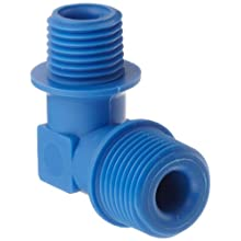 Tefen Nylon 6/6 Pipe Fitting, 90 Degree Elbow, Blue, BSPT Male
