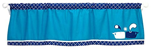 Happy Chic Baby Jonathan Adler Party Whale Valance, Blue/White
