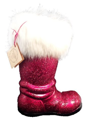 Ino Schaller Paper Mache Red Beaded Santa Boot Christmas Candy Container