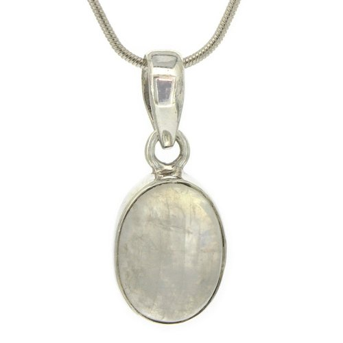 Nova Silver Bemine Small Oval Moonstone Pendant with 46cm Silver Snake Chain
