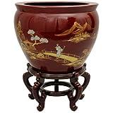 "Oriental Furniture 16"" Red Landscape Fishbowl"