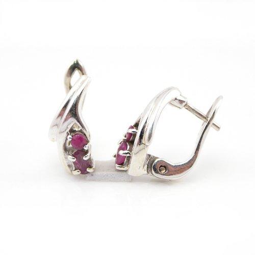 5.95g Genuine Red Ruby 925 Sterling Silver Huggie Earring