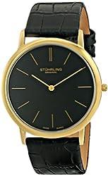 Stuhrling Original Men's 601.33351 Classic Ascot Swiss Quartz Ultra Thin Black Leather Strap Watch