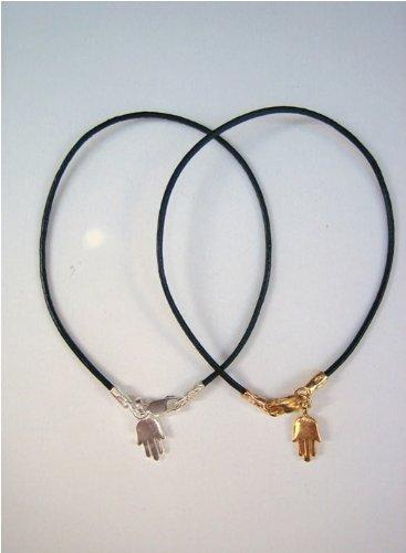 One of a Kind Leather Hamsa Bracelet (Gold)