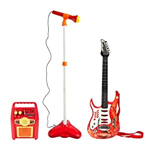 kids guitar toy amplifier microphone battery operated karaoke electric toys games. Black Bedroom Furniture Sets. Home Design Ideas
