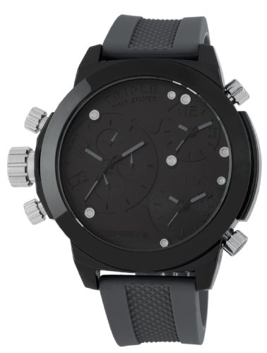 Cepheus Men's Quartz Watch with Black Dial Analogue Display and Grey Silicone Strap CP902-620A