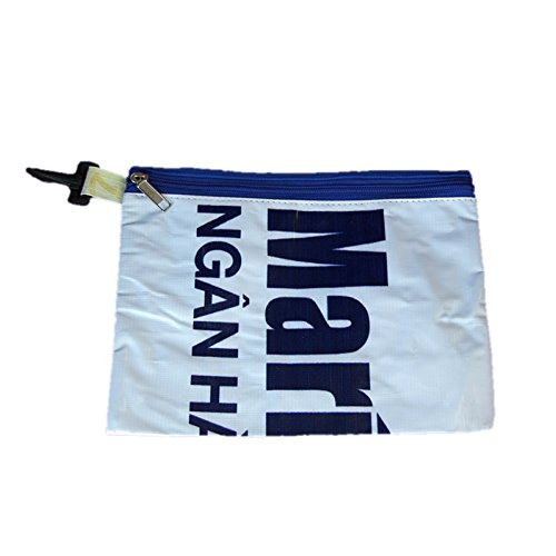 Image of Recycled Billboard Bag with Blue Zipper