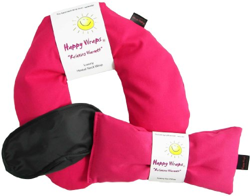 Happy Wraps® Herbal Neck Wrap W/Free Lavender Eye Pillow & Free Sleep Mask - Microwave Or Freeze - Pink Cotton