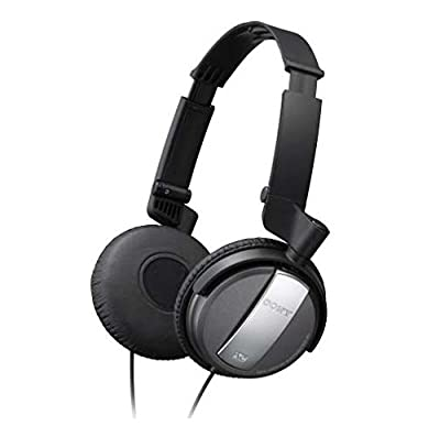 Sony MDR-NC7 Noise Canceling On Ear Audio & Video Wired Headphones with Neodymium Magnet & 30mm Drivers - Compact for Travel - Battery Operated (AAA) - Dual Capability - Foldable & Swivel (Earcups) Design w/ Active or Passive Use - {Brown Box Packaging}