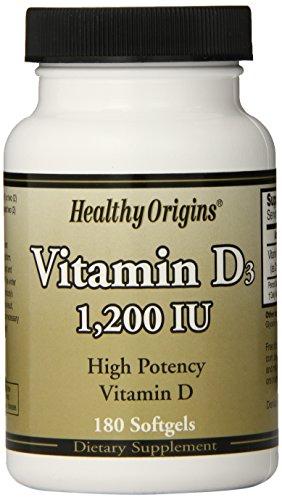 Healthy Origins, High Potency Vitamin D Vitamin D3, 1,200 IU, 180 Softgels