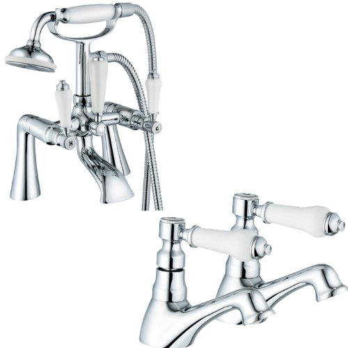 Victorian Chrome Bathroom Bath Shower And A Pair Of Basin Taps Set (Swan 42) by Grand Taps