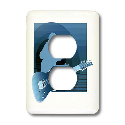 Lsp_175917_6 Susans Zoo Crew Music Instrument Guitar - Electric Guitar Singer Invert Blue - Light Switch Covers - 2 Plug Outlet Cover