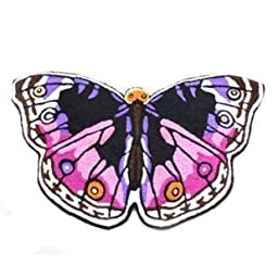 Newrara Colorful Butterfly Area Rugs,hand Embroidery Butterfly Floor Mats,butterfly Carpets for Kids