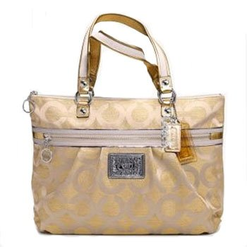 Coach 15865 Signature Op Art Poppy Glam Shoulder Bag Purse Tote Gold