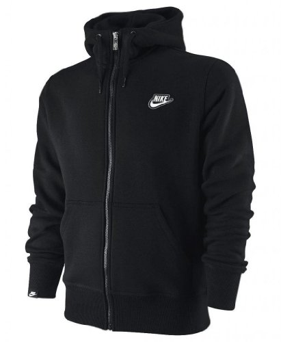 Nike Men's Fleece Full Zip Hooded Hoodie Hoody Sweatshirt Tracksuit Top black Small