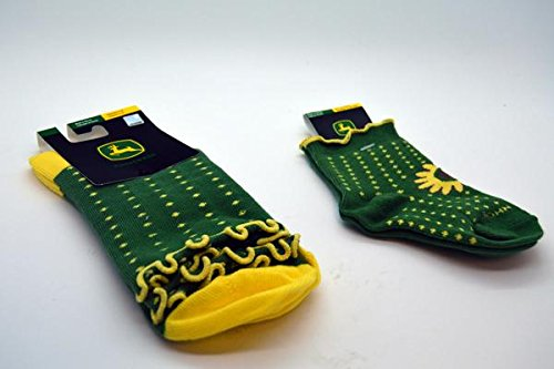 Bundle of Matching Mother Daughter Socks-- John Deere Green With Yellow Pokadots and the John Deere logo