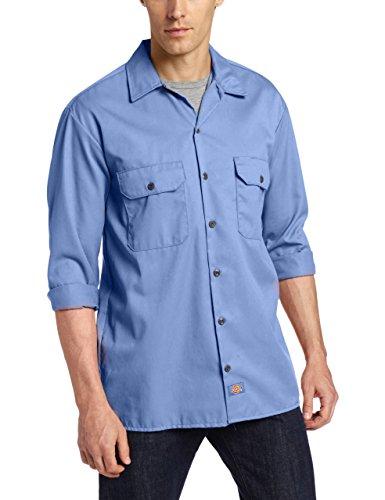 Dickies men 39 s big tall long sleeve work shirt gulf blue for Tall mens work shirts