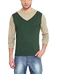 Hot Pepper Men's Cotton Round Neck - V Style - Full Sleeve T-shirt -Bottle Green