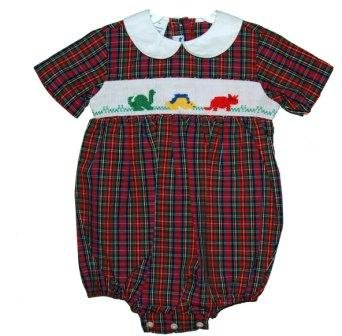 Dinosaur Smocking on Red Plaid Bubble by Silly Goose (Size 12M )