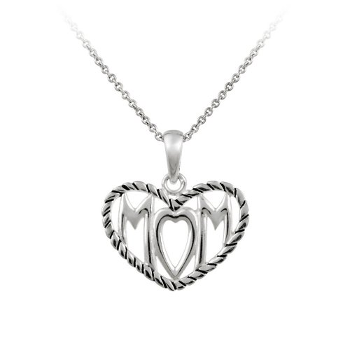 Sterling Silver MOM in Textured Heart Pendant Necklace on Shot Bead Chain Necklace, 18