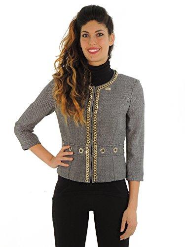 Elisabetta Franchi giacca donna girocollo GI5963669 (44, BIANCO/NERO)